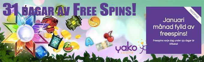 yako casino 31 dagar av free spins