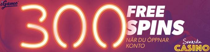 300 free spins igame svenska casino på nätet